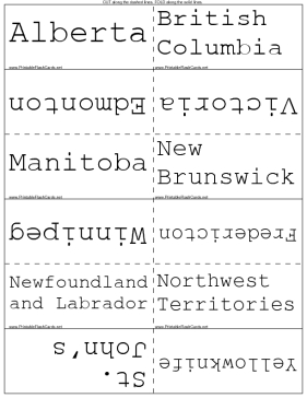 picture about States and Capitals Flash Cards Printable called Canadian Capitals Flash Playing cards