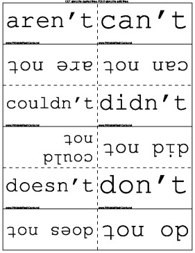 Contractions in English template