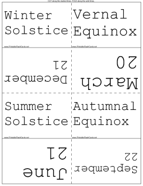 Dates of Equinoxes and Solstices template