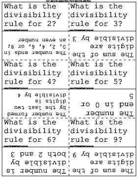 photograph relating to Divisibility Rules Printable named Divisibility Legislation Flash Playing cards