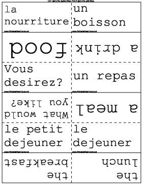French and English Food Terms template