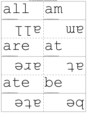 Kindergarten Dolch Words template