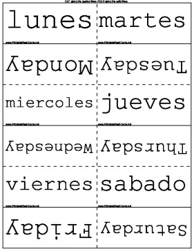Months, Seasons, Days in Spanish/English template
