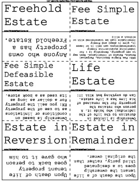 Rental and Property Law Vocabulary template