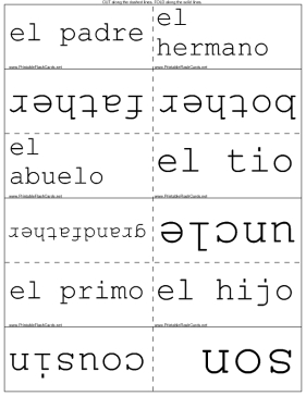 Spanish Family (La Familia) Vocabulary Terms template