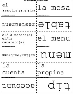 Spanish Food Words template