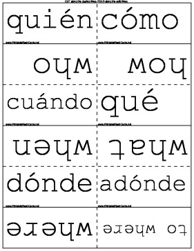 Spanish Question Words template